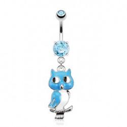 Piercing nombril pendentif hibou bleu Koto NOM419