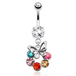 Piercing nombril papillon et cercle en zirconium By