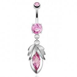 Piercing nombril feuille acier et perle rose Gun