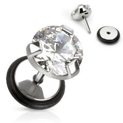 Faux piercing rond en zirconium blanc serti Xot FAU097