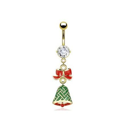 Piercing nombril doré cloche de Noël Ruat NOM421