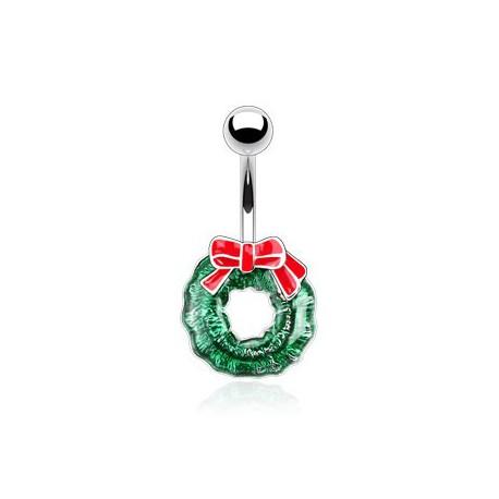 Piercing nombril couronne verte de Noël Ruai NOM422