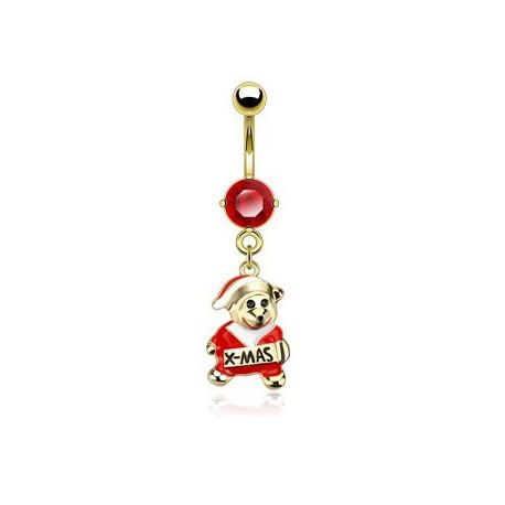 Piercing nombril rouge avec l'ours de Noël Ryt NOM424