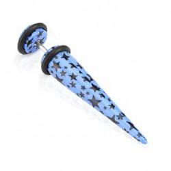 Faux piercing écarteur bleu et étoiles noire Gyf FAU164