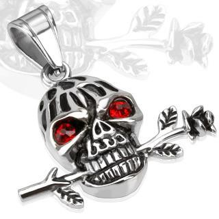 Pendentif t te de mort et fleur en acier xasy 12 49 - Tete de mort fleur ...