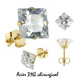 Puces d'oreilles carré 6mm en zirconium blanc Wo Bijoux4,99€