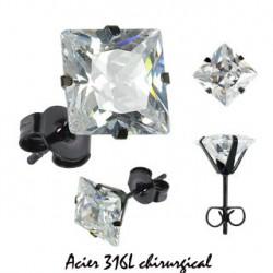 Puces d'oreilles 4mm carré et zirconium blanc Sa Bijoux3,99€