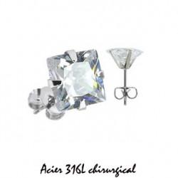 Puces d'oreilles 6mm acier et zirconium blanc Raw Bijoux4,80€