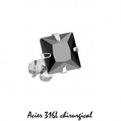 Puces d'oreilles 6mm acier et zirconium noir Ray