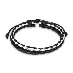 Bracelet en cuir noir et blanc tressé Hyr BRA001