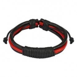 Bracelet cuir noir et rouge et noeud Saz