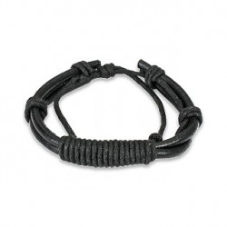 Bracelet cuir noir et noeud en spirale Sas BRA004