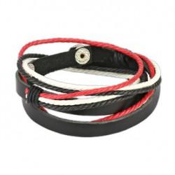 Bracelet double cuir en noir blanc et rouge Saz