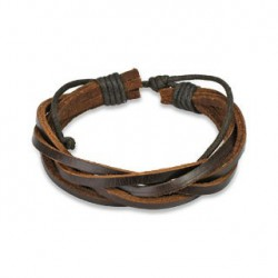 Bracelet marron tressé avec cinq cordes de cuir