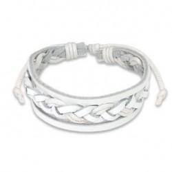 Bracelet en cuir tressé blanc Vaxez BRA007