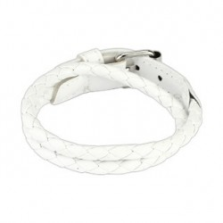 Bracelet double en cuir tressé blanc Soza BRA010