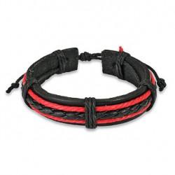 Bracelet cuir noir et deux tresses rouge Axez BRA011