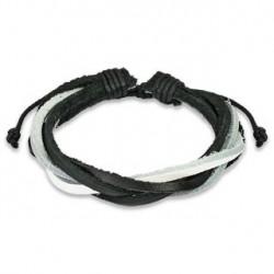 Bracelet noir et blanc tressé cinq cordes cuir Ty BRA012