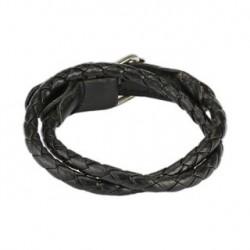 Bracelet double en cuir tressé noir Soyza BRA013