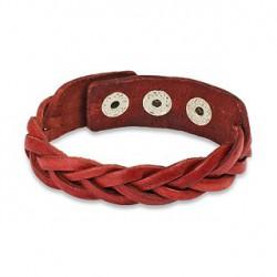 Bracelet bande tressée en cuir rouge Soya BRA014