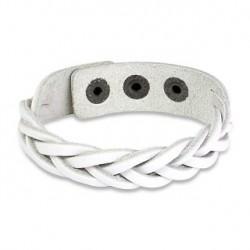Bracelet bande tressée en cuir blanc Wayz BRA015
