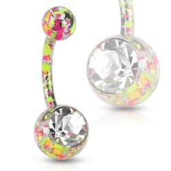 Piercing nombril boule multi taches jaune Sied NOM429