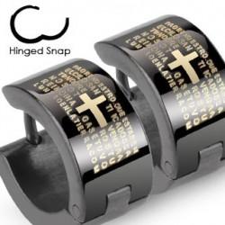 Boucle anneau oreille croix sur fond noir Cuty ANN080
