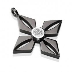 Pendentif étoile en acier stainless noir Vider