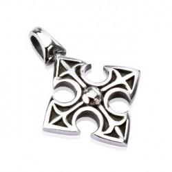 Pendentif croix celtique médiéval acier Tas PEN033