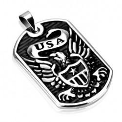 Pendentif plaque acier avec aigle U.S.A Gyraz PEN034