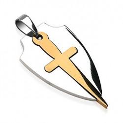 Pendentif motif bouclier et une épée doré Dyq PEN036