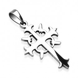 Pendentif croix acier avec motif tribal Luwaz PEN037