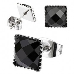 Puces d'oreilles 6mm carré en onyx noir Lar PUC014