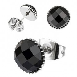Puces d'oreilles 6mm ronde en onyx noir Lara PUC015