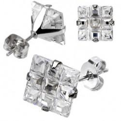 Puces d'oreilles 6mm carré et zirconium strié Ryz PUC016