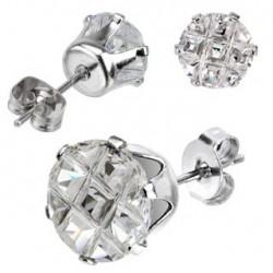 Puces d'oreilles 6mm ronde et zirconium strié Roz PUC017