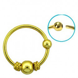 Piercing anneau jaune doré nez oreille 10mm Puy NEZ076