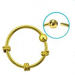 Piercing anneau doré, jaune oreille nez 10mm Pot NEZ077