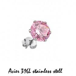 Puces d'oreilles 6mm ronde et zirconium rose Gol Bijoux4,99€
