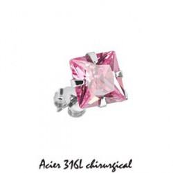Puces d'oreilles 6mm acier et zirconium rose Ryw PUC029