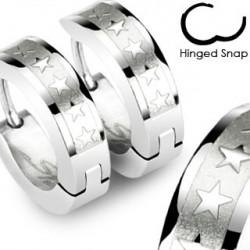 Boucle anneau acier oreille avec étoiles Lye ANN086