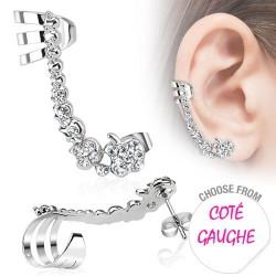 Boucle d'oreille gauche et zirconium blanc Gym BOU006