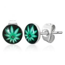 Puces d'oreilles feuille de cannabis verte Dyox Bijoux3,30€