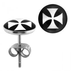 Puces d'oreilles logo avec croix chopper Dixux Bijoux3,30€