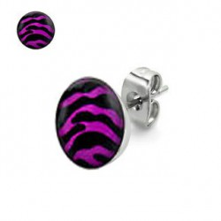 Puces d'oreilles motif zébré rose et noir Dez PUC046