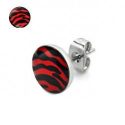 Puces d'oreilles motif zébré rouge et noir Yez PUC046