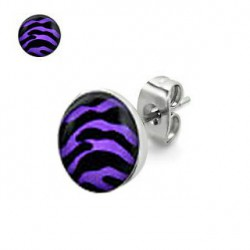 Puces d'oreilles motif zébré violet et noir Daze PUC046