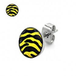 Puces d'oreilles motif zébré jaune et noir Dyze PUC046