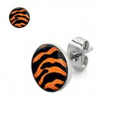 Puces d'oreilles motif zébré orange et noir Gaze PUC046