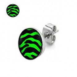 Puces d'oreilles motif zébré vert et noir Gazol PUC046